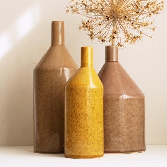 Keramik Vasen in gelb rose und caramel