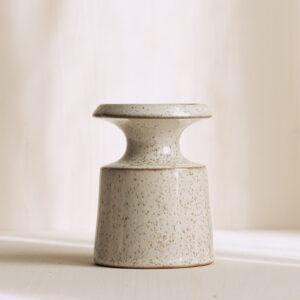 Keramik Kerzenleuchter weiss gesprenkelt