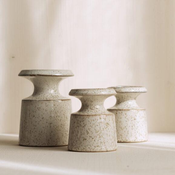 Keramik Kerzenleuchter weiss mit struktur