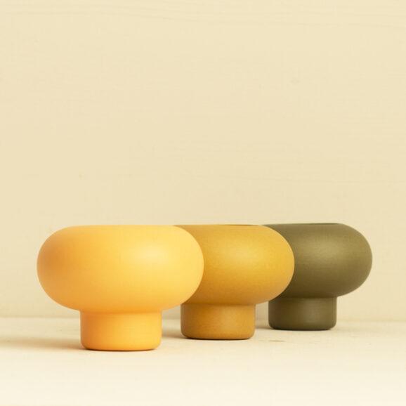 Teelichhalter Set in gelb, orange und gruen von Broste Copenhagen