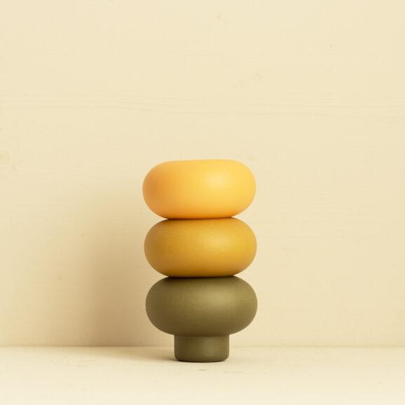 Teelicht Halter Set in gelb, orange und gruen von Broste Copenhagen