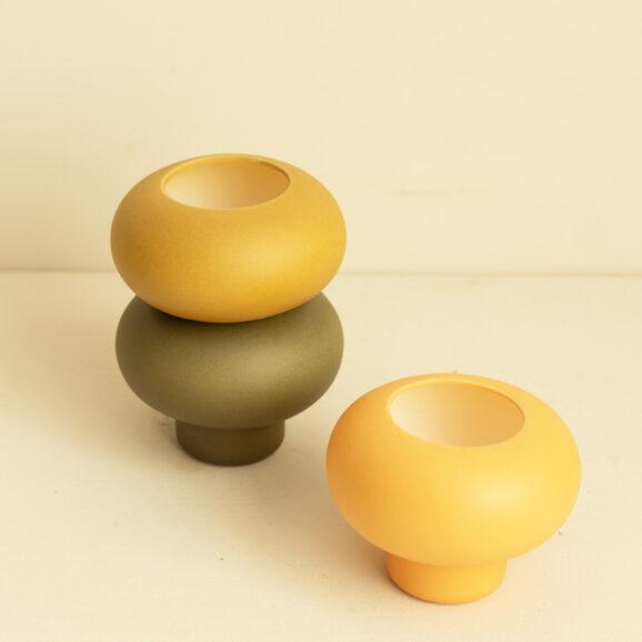 Teelichter Halter Set gelb gruen und orange von Broste Copenhagen