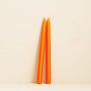 Leuchterkerzen orange handgemacht aus Hamburg