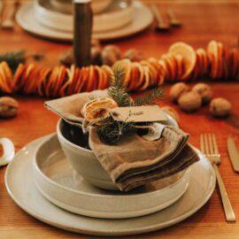 Weihnachten Tischdekoration in orange